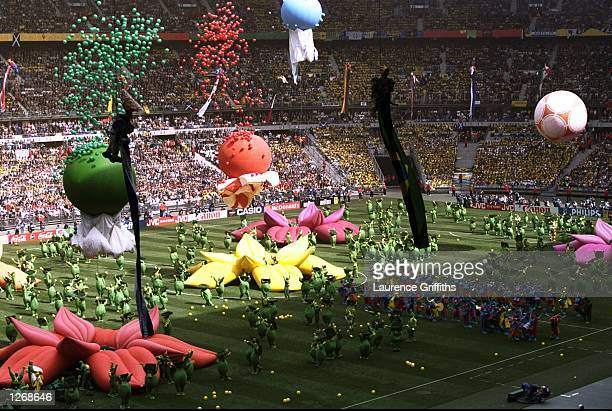 The colourful opening ceremony of the World Cup takes place at the Stade de France in St Denis France Mandatory Credit Laurence Griffiths /Allsport