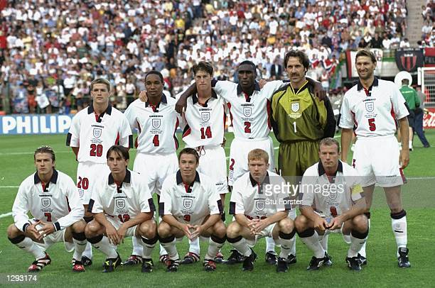 The England team line up before the World Cup second round match against Argentina at the Stade Geofrroy Guichard in St Etienne France England lost...