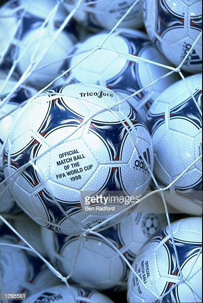 The official Adidas Tricolore match ball of the World Cup Finals ready for use at the group D game between Spain and Paraguay at the Stade...