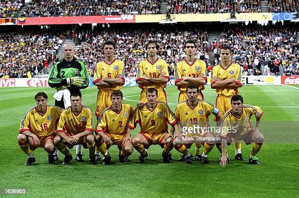 The Romania team line up before the World Cup G group game against Colombia at the Stade Gerland in Lyon France Romania won 10 Mandatory Credit Mark...