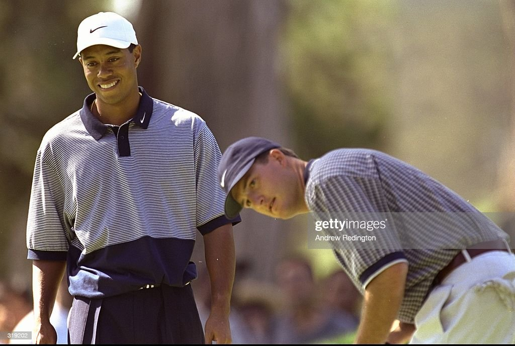 Tiger Woods (L) and Casey Martin (R) look on at the twelfth hole during the 1998 U.S. Open Championships on the 6,797-yard, par-70 Lake Course at The Olympic Club in San Francisco, California. Mandatory Credit: Andrew Reddington /Allsport