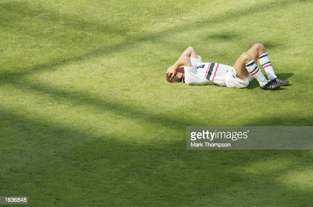 Vidar Riseth of Norway lies distraught after the World Cup second round match against Italy at the Stade Velodrome in Marseille France Norway lost 10...