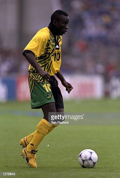 Walter Boyd of Jamaica in action during the World Cup first round match against Japan at the Stade Gerland in Lyon France Jamaica won the match 21...