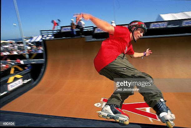 A general view of an inline skater in the aggressive InLine Vertical competition during the XGames in San Francisco California