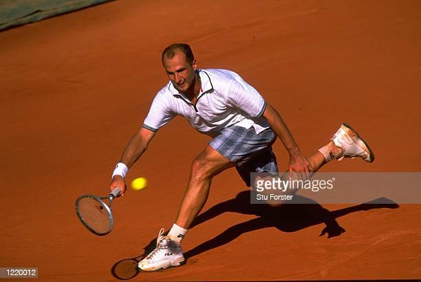 Andrei Medvedev of the Ukraine in action during the 1999 French Open Final match against Andre Agassi of the United States played at Roland Garros in...