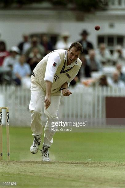 Angus Fraser of Middlesex in action during the NatWest Trophy match against Nottinghamshire played at Trent Bridge in Nottingham England Mandatory...