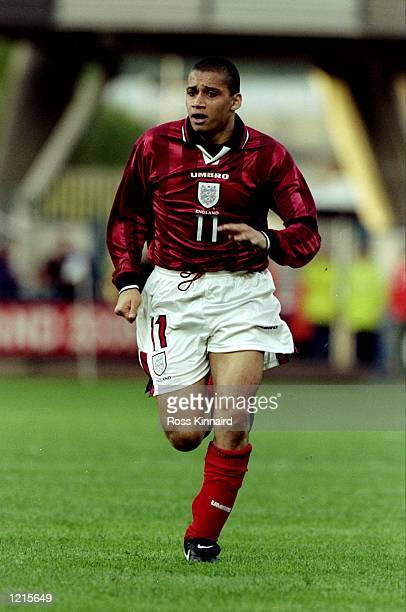 Curtis Woodhouse of England makes a run in the European Under21 Championship qualifier against Sweden at the Alfred McAlpine Stadium in Huddersfield...