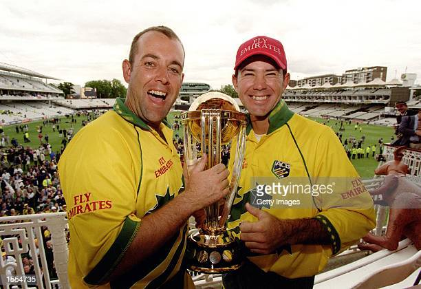 Darren Lehmann and Ricky Ponting of Australia celebrate on the balcony after their win in the World Cup Final match between Australia and Pakistan...