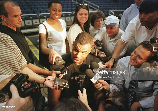 David Robinson of the San Antonio Spurs chats with the media after practice in preparation for game one of the NBA Finals at the Alamodome in San...
