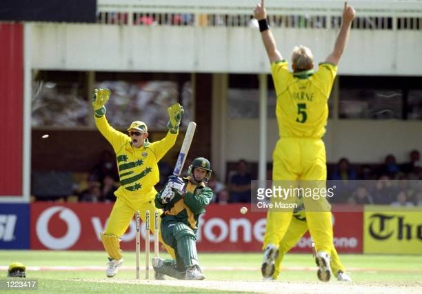 Gary Kirsten of South Africa is bowled by Shane Warne of Australia in the World Cup semifinal at Edgbaston in Birmingham England The match finished a...