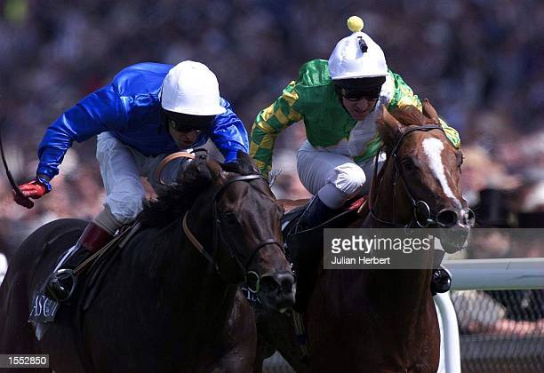 Gary Stevens and Cape Cross get the better of Docksider ridden by Michael Hills to land The Queen anne Stakes run on the opening day of The Royal...