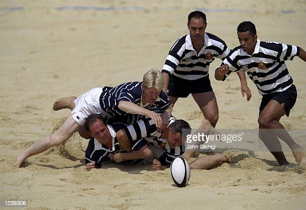 General view of New Zealand against Scotland during the Beach Rugby Tournament held at the Richmond Athletic Ground London England Mandatory Credit...