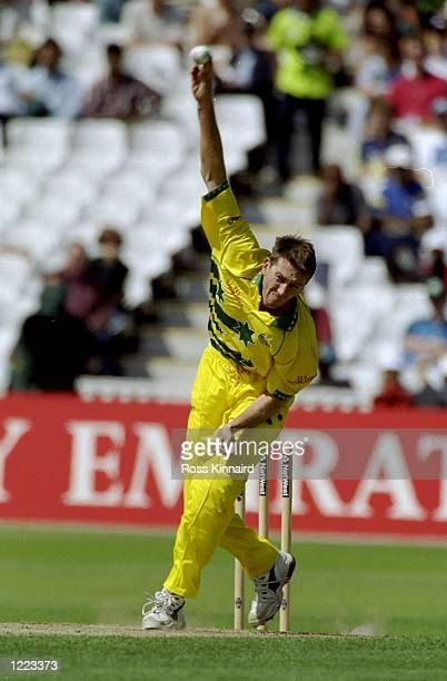 Glenn McGrath of Australia bowls during the World Cup semifinal against South Africa at Edgbaston in Birmingham England The match finished a tie as...