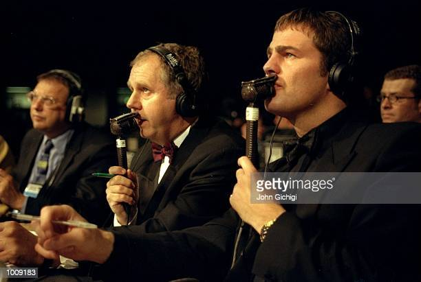 Ian Darke and Glen McCrory the Sky TV commentators in action during the Super Middleweight fight between Joe Calzaghe and Rick Thornberry held in...