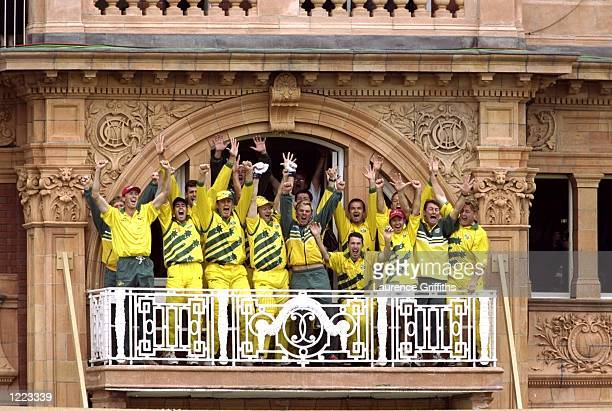 Jubilation on the Australian balcony after victory over Pakistan in the Cricket World Cup Final at Lord's in London Australia won by 8 wickets...