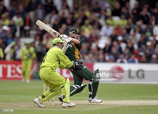 Lance Klusener of South Africa on his way to 46 not out in the World Cup Super Six match against Pakistan at Trent Bridge in Nottingham England South...