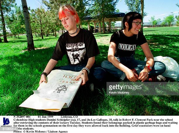 Jun 1999 Littleton Co Columbine High Students Domini Schleipfer And JoLee Gallegos Talk In Robert F Clement Park Near The School After Retrieving The...