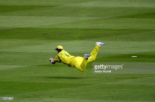 Mark Waugh of Australia takes a flying catch at slip during the Cricket World Cup Final against Pakistan at Lord's in London Australia won by 8...