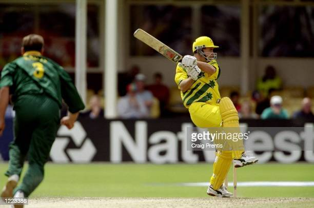 Michael Bevan of Australia on his way to 65 in the World Cup semifinal against South Africa at Edgbaston in Birmingham England The match finished a...