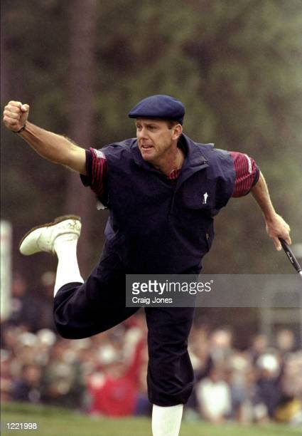 Payne Stewart of the United States celebrates victory after sinking his final putt during the last day of the 1999 US Open played on the number two...