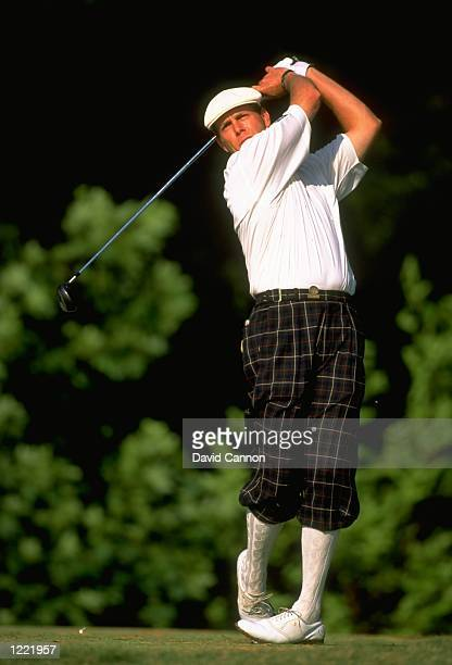 Payne Stewart of the United States in action during the second day of the 1999 US Open played on the number two course at Pinehurst in North Carolina...
