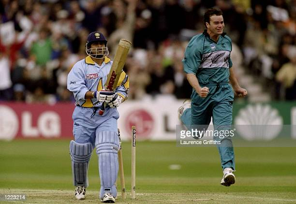 Sachin Tendulkar of India is bowled by Dion Nash of New Zealand in the World Cup Super Six match at Trent Bridge in Nottingham England New Zealand...