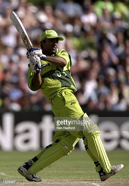 Saeed Anwar of Pakistan on his way to an unbeaten century in the World Cup semi-final against New Zealand at Old Trafford in Manchester, England....