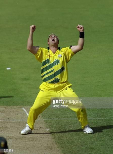 Shane Warne of Australia celebrates a South African wicket in the World Cup semifinal at Edgbaston in Birmingham England Warne took 4 for 29 and the...