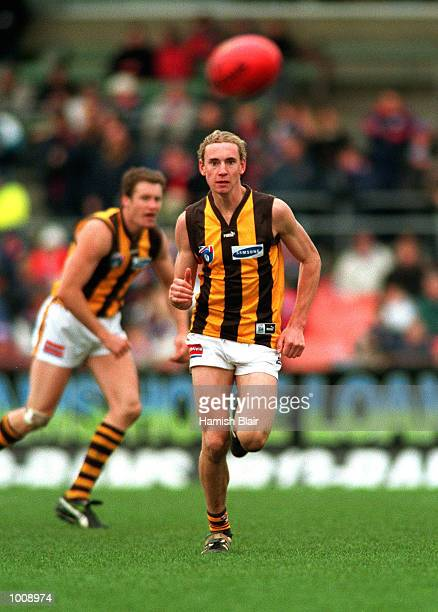 Son of former Hawthorn player Michael Tuck and nephew of former Geelong player Gary Ablett Shane Tuck of Hawthorn in action during the Reserves match...