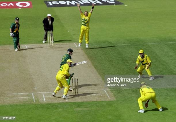 South Africa captain Hansie Cronje is caught off Shane Warne of Australia for nought in the World Cup semifinal at Edgbaston in Birmingham England...