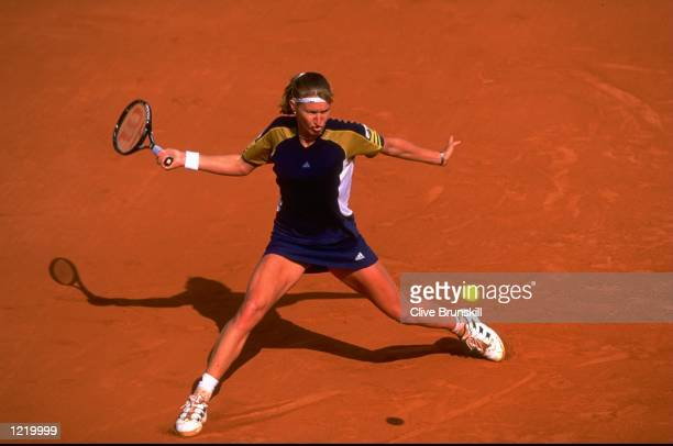 Steffi Graf of Germany in action during the 1999 French Open on day eleven played at Roland Garros in Paris France Mandatory Credit Clive Brunskill...