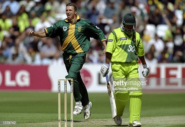 Steve Elworthy of South Africa takes the wicket of Saeed Anwar of Pakistan in the World Cup Super Six match at Trent Bridge in Nottingham England...