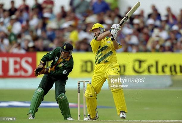 Steve Waugh of Australia during his matchwinning unbeaten 120 against South Africa in the World Cup Super Six match at Headingley in Leeds England...