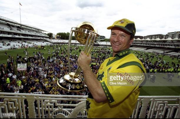 Steve Waugh of Australia lifts the trophy after victory in the Cricket World Cup Final over Pakistan at Lord's in London Australia won by 8 wickets...