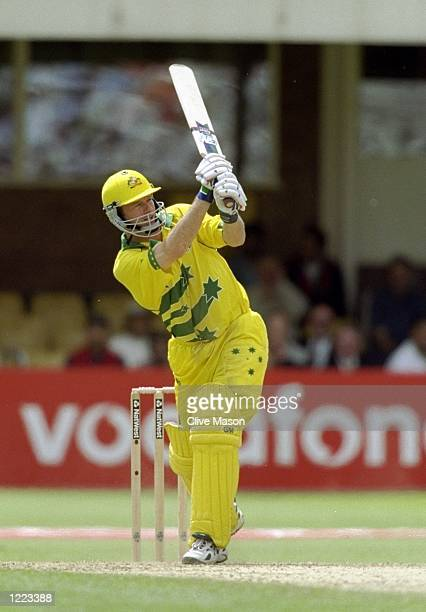 Steve Waugh of Australia on his way to a half century against South Africa in the World Cup semifinal at Edgbaston in Birmingham England The match...