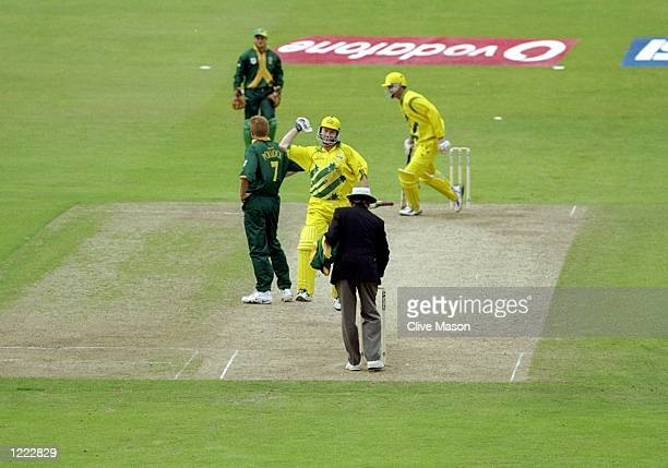 Steve Waugh of Australia punches the air after leading his team to victory over South Africa in the World Cup Super Six match at Headingley in Leeds...