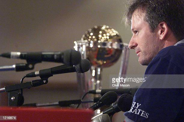 Steve Waugh the captain of Australia speaks at a press conference with the World Cup Trophy on display ahead of Sundays final against Pakistan at...