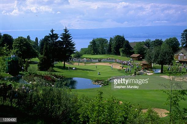 The 18th green at the Evian Masters at the Royal Golf Club Evian in France Mandatory Credit Stephen Munday /Allsport