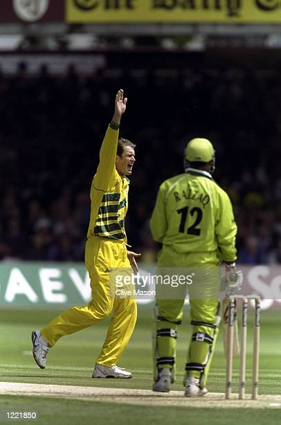 Tom Moody of Australia takes the wicket of Abdur Razzaq of Pakistan during the Cricket World Cup Final at Lord's in London Australia won by 8 wickets...