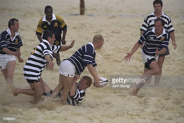 View of Scotland v New Zealand during the Beach Rugby Tournament held at the Richmond Athletic Ground London England Mandatory Credit John Gichigi...