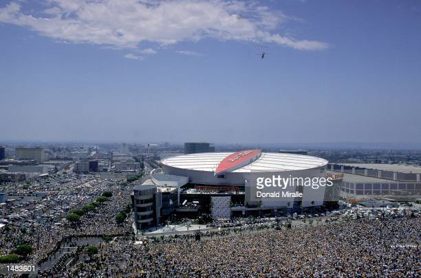 General view of an aerial shot of the crowd around the Staples Center during the Laker's Victory Parade in Los Angeles, California. NOTE TO USER: It...