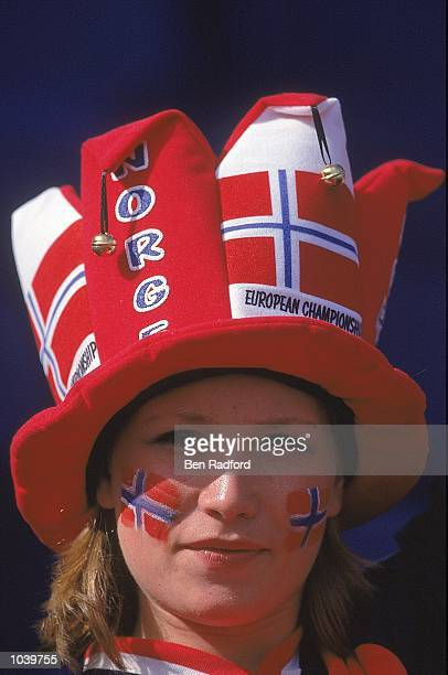 A Norway fan in reflective mood during the European Championships 2000 Group C match against Spain at the De Kuip Stadium Rotterdam Holland Norway...