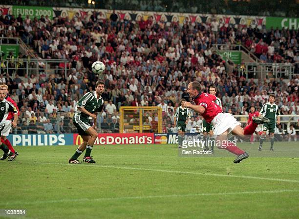 Alan Shearer dives to head the winner for England during the European Championships 2000 group match against Germany at the Stade Communal in...