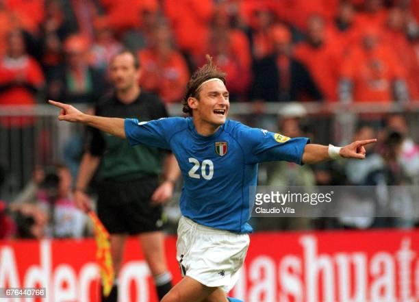 Jun 2000, AMSTERDAM: EURO 2000, SEMIFINAL, HOLLAND VS ITALY 3-2, Francesco TOTTI celebrating after scoring his the penalty