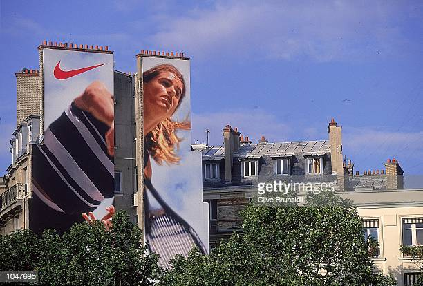 Billboards promoting the tennis during the French Open 2000 at Roland Garros Paris France Mandatory Credit Clive Brunskill /Allsport