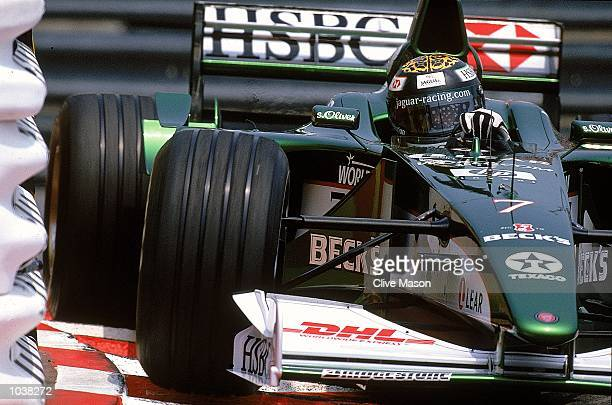 Eddie Irvine in action for Jaguar during the Formula One Monaco Grand Prix in Monaco. \ Mandatory Credit: Clive Mason /Allsport