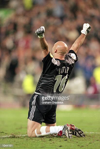 Fabien Barthez of France celebrates during the European Championships 2000 semifinal against Portugal at the King Baudouin Stadium in Brussels...