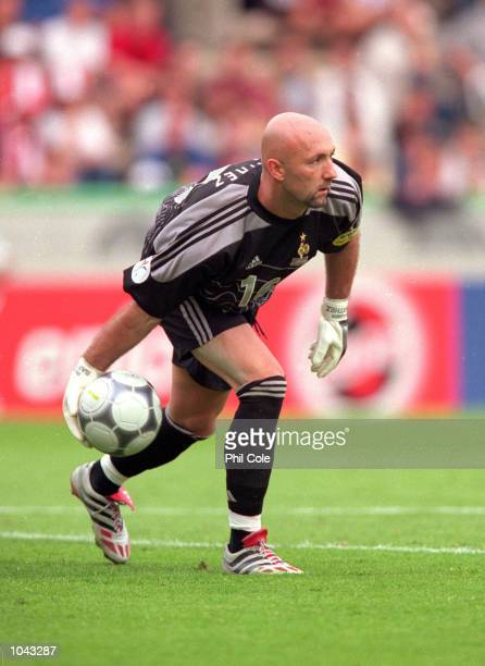 Fabien Barthez of France in action during the European Championships 2000 group match against Denmark at the Jan Breydal Stadium in Brugge Belgium...