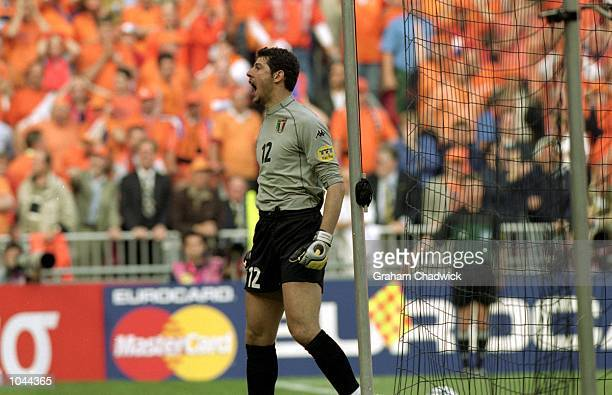 Francesco Toldo of Italy celebrates penalty miss during the European Championships 2000 Semi-final at the Amsterdam ArenA, Amsterdam, Holland. The...