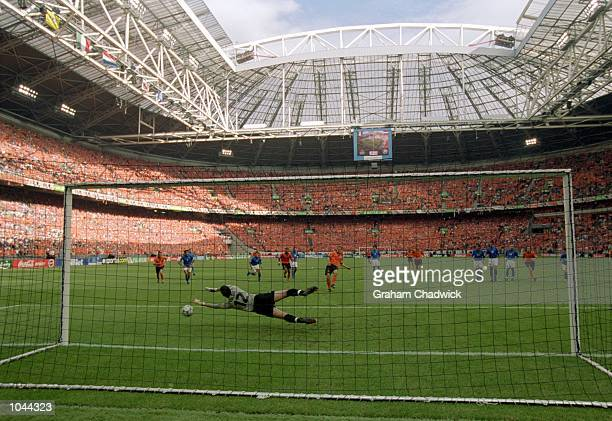 Francesco Toldo of Italy saves penalty from Frank de Boer of Holland during the European Championships 2000 Semi Final at the Amsterdam ArenA...